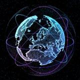 3d ilustracja szczegółowa wirtualna planety ziemia Technologiczny cyfrowy kula ziemska świat Obraz Royalty Free
