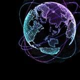 3d ilustracja szczegółowa wirtualna planety ziemia Technologiczny cyfrowy kula ziemska świat Fotografia Stock