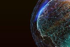 3d ilustracja szczegółowa wirtualna planety ziemia Technologiczny cyfrowy kula ziemska świat Ilustracja Wektor