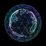 3d ilustracja szczegółowa wirtualna planety ziemia Technologiczny cyfrowy kula ziemska świat Royalty Ilustracja