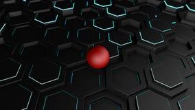 3D ilustracja tło wiele czarni sześciokąty z cienkim świecącym paskiem Na sześciokątach, geometryczni kształty są czerwonym piłką royalty ilustracja