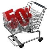 3D ilustracja wózek na zakupy z 50 pocent rabatem w czerwieni odizolowywającej royalty ilustracja