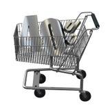 3D ilustracja wózek na zakupy z 40 pocent rabatem w srebrze royalty ilustracja