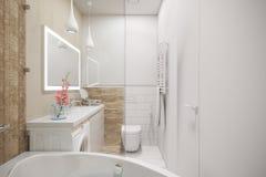 3d ilustracja wewnętrzny projekt biała minimalistyczna łazienka royalty ilustracja