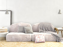 3d ilustracja, wnętrze z kanapą ścienny egzamin próbny up Obraz Royalty Free