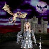 3D ilustracja wojownika princess smoka slayer ilustracji
