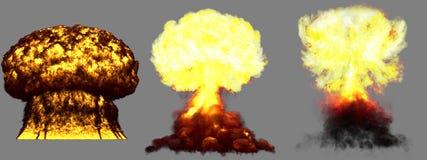 3D ilustracja wybuch - 3 faz grzyba atomowego fuzji bomba z dymem ogromny bardzo wysoce szczegółowy różny wybuch i royalty ilustracja