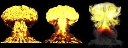 3D ilustracja wybuch - 3 faz grzyba atomowego jądrowa bomba z dymem ogromny wysoce szczegółowy różny wybuch i royalty ilustracja