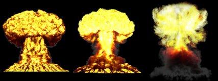 3D ilustracja wybuch - 3 faz grzyba atomowego wodorowa bomba z dymem ogromny bardzo wysoce szczegółowy różny wybuch royalty ilustracja