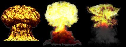 3D ilustracja wybuch - 3 faz grzyba atomowego wodorowa bomba z dymem ogromny bardzo wysoce szczeg??owy r??ny wybuch royalty ilustracja