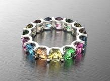3D ilustracja złocisty pierścionek z diamentem czarnej tła tekstyliów biżuterię złoty srebra ilustracji