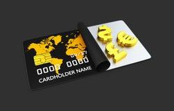 3d ilustracja złoto pieniądze symbol, bank karta odizolowywał czerń Fotografia Stock