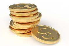 3d ilustracja, złociste monety w stercie ilustracja wektor