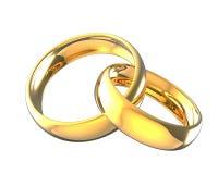 3d ilustracje łączyć złociste obrączki ślubne Obraz Stock
