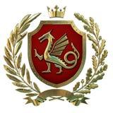 3D ilustracyjna heraldyka, czerwony żakiet ręki Złota gałązka oliwna, dąb gałąź, korona, osłona, smok Isolat ilustracji