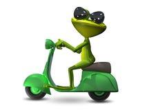 3D Ilustracyjna zielona żaba na motorowej hulajnoga Zdjęcia Royalty Free