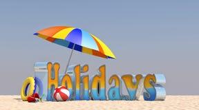 3D Ilustracyjni wakacje na plaży Zdjęcia Stock