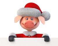 3d ilustracyjni wesoło boże narodzenia świniowaci z billboardem Fotografia Stock