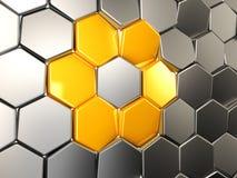 3d Ilustracyjny abstrakcjonistyczny żółty heksagonalny Tło z sześciokąta elementem Fotografia Royalty Free