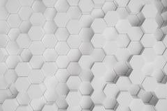 3D ilustracyjny biały geometryczny heksagonalny abstrakcjonistyczny tło Nawierzchniowy sześciokąta wzór, heksagonalny honeycomb ilustracja wektor