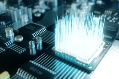3D ilustracyjny chip komputerowy, procesor na drukowanej obwód desce Pojęcie transfer danych chmura ilustracji