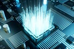 3D ilustracyjny chip komputerowy, procesor na drukowanej obwód desce Pojęcie transfer danych chmura Obrazy Royalty Free