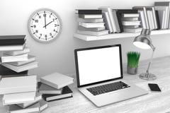 3D ilustracyjny laptop i książki, w Workspace Obraz Stock