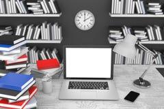 3D ilustracyjny laptop i książki, w Workspace Obrazy Stock