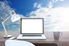 3D ilustracyjny laptop na stole, Workspace dalej Obrazy Stock