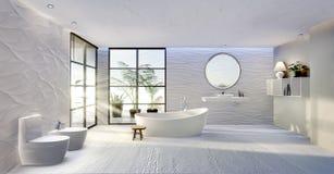 3D ilustracyjny ogólny widok nowożytna wysokość klucza łazienka obraz stock