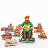3D Ilustracyjny rendering młody imbirowy mężczyzna czyta książkę obraz stock