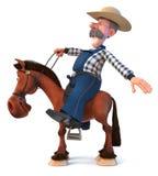 3d ilustracyjny rolnik na horseback Zdjęcia Royalty Free