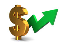 Dollar rising graph Royalty Free Stock Images