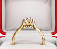 3d ilustration of gold engagement ring Stock Photography