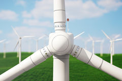 3d iluustration, turbine in the field, green, wind turbine, generate, eco power. environmentally friendly energy from Stock Photography
