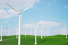 3d iluustration, turbine in the field, green, wind turbine, generate, eco power. environmentally friendly energy from Royalty Free Stock Photos