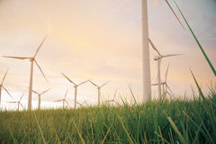 3d iluustration, turbine in the field, green, wind turbine, generate, eco power. environmentally friendly energy from Royalty Free Stock Image
