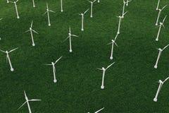 3d iluustration, turbine op het gebied, groen, windturbine, produceert, ecomacht milieuvriendelijke energie van Royalty-vrije Stock Foto's