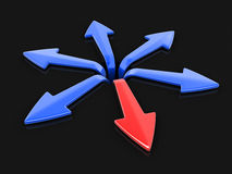 3d image of arrows in different directions. Image with clipping path Royalty Free Stock Photo