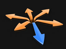 3d image of arrows in different directions. Image with clipping path Royalty Free Stock Image