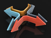 3d image of arrows in different directions. Image with clipping path Stock Photography