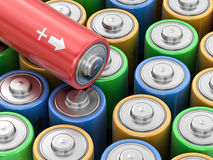 3d image of Batteries. Background Royalty Free Stock Images