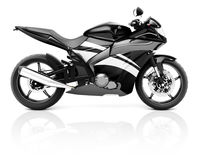 3D Image of a Black Modern Motorbike Stock Images