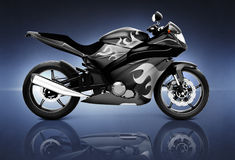3D Image of Black Motor Cycle Royalty Free Stock Photos