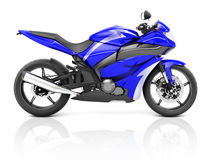 3D Image of a Blue Modern Motorbike Stock Photography