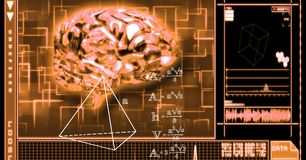 3d image of brain and equations royalty free stock image