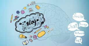 3d image of brain with various icons and speech bubbles. Digital composite of 3d image of brain with various icons and speech bubbles Royalty Free Stock Images
