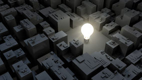3d image of bright light bulb and city, green energy concept Royalty Free Stock Image