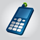 3D image - colored old mobile phone with antenna. Three dimensional illustration - blue old mobile phone, white buttons, display, antenna with green signal and Royalty Free Stock Photos