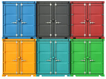 3d image of colorful container.  Stock Images